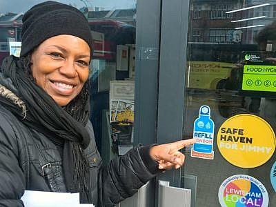 Christine with window sticker